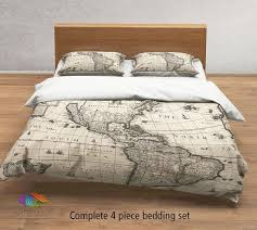 vintage map bedding vintage america old map duvet cover antique map queen king full bedding set vintage steampunk map duvet cover set