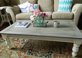 My $15 thrift store pine coffee table, chalk painted and lightly glazed.  For the