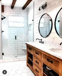 Modern Farmhouse Bathroom Vanity Lighting Modern Farmhouse Bathroom White Tile And Shiplap With Wood