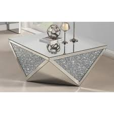 best quality furniture mirrored coffee table with crystal accent accent coffee table62