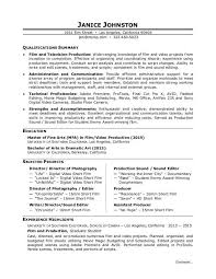 Resume Outlines Examples Film Production Resume Sample Monster Com