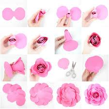 Rose Paper Flower Making Free Large Paper Rose Template Diy Camellia Rose Tutorial