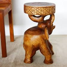 chang elephant stool stand end table carved wood thai furniture throughout hand carved wooden furniture with