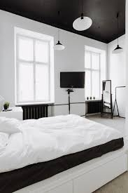 Mirror Wall Bedroom Interior Black Bedroom Ceiling Pendant Lamp White Wall Glass