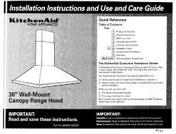 kitchenaid 883297 ventilation hood user manual