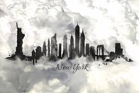 new york skyline painting new york city skyline in the black and white by lilia