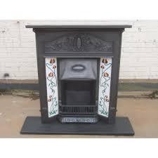 216 art nouveau original antique cast iron edwardian victorian fireplace with tiles