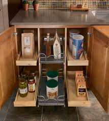 Kitchen Storage For Small Spaces Pull Out Spice Rack Wood Cabinet Storage With Marble Countertop