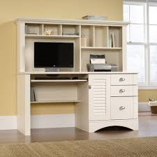 computer desk for home ideas with white wooden hutch computer desk with keyboard drawer and shelves