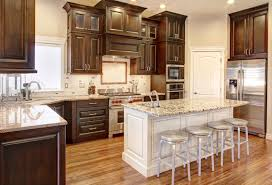 Kitchen Island Granite Dark Perimeter Cabinets With White Island Cabinets And Light
