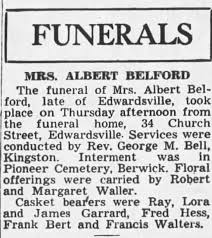 Mrs. Albert Belford funeral annoucement - Newspapers.com