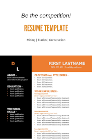 Free Resume Template Construction Orange The Perfect Resume