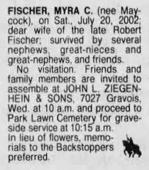 Myra Fischer Funeral Notice - Newspapers.com