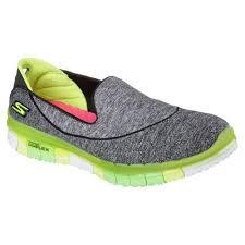 skechers slip on walking shoes. skechers go flex ladies running shoes-black-green-angled slip on walking shoes s