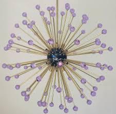 modern italian sputnik chandelier with 96 purple murano glass spheres black enameled center and canopy