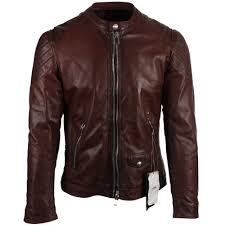 delan brown classic leather biker jacket