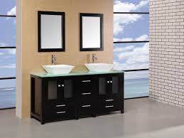 arlington double vessel sink vanity  glass top