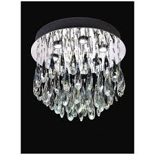 shimmer 6 light led crystal ceiling flush fitting in chrome finish fl2321 6