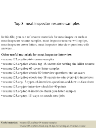 Resume Writing Examples Best Of Top 24 Meat Inspector Resume Samples