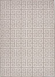 greek key flat wool rug gray