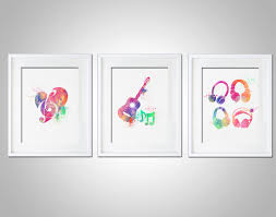 watercolor art print set of 3 modern 8x10 wall art decor illustration music room gift music on matching wall art prints with watercolor art print set of 3 modern 8x10 wall art decor