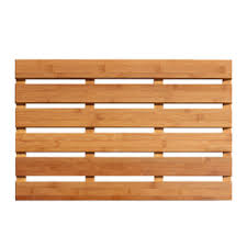 wood bathroom mat