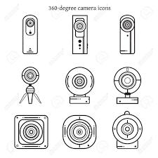 細い線のデザインで 360 度カメラ アイコンのセットですベクトル イラスト