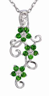description natural chrome diopside white sapphire solid 925 sterling silver flower pendant