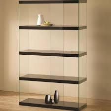 bookshelves glass bookcases wood metal and crate barrel 5 shelves