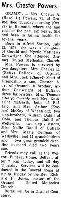 Mrs. Chester (Hazel) Powers Obituary - Newspapers.com