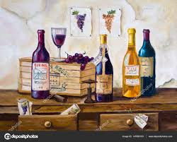 still life of bottles of wine and gs on the table original oil painting on