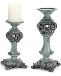 Amazing Deal on Set of 2 Blue and Brown Antique Pillar Candle