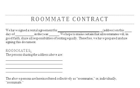 Roommate Agreement Contracts Rent A Room Tenancy Agreement Template Rental Roommate