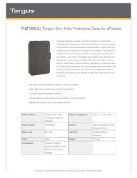 Custom Fit Design Targus Thz160eu Manualzz Com