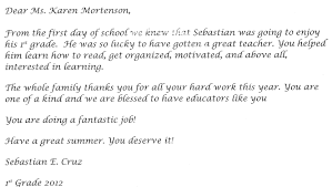 Thank You Letter To Parents Sample Ideas