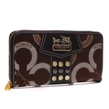 Coach Waverly Stud In Signature Large Coffee Wallets AGT
