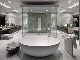 luxury modern bathrooms. Beautiful Modern This Centered Shower And Oval Tub Sit Between Two Large Mirrors That Span  The Bathroom Walls In Their Entirety The Rich White Granite Floor Matches  Intended Luxury Modern Bathrooms