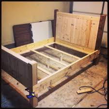 4x4 Wood Crafts Diy Full Size Bed Frame Almost Finished Made With 2x4s 2x8s And