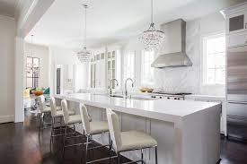 waterfall kitchen island with robert abbey bling chandeliers