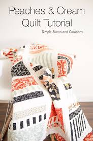 35 Easy Quilts To Make This Weekend - DIY Joy & Best Quilts to Make This Weekend - Peaches & Cream Quilt - Free Quilt  Patterns and Adamdwight.com
