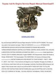 Toyota 1cd Ftv Engine Service Repair Manual D by Gloria Borella - issuu