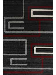 simple lines modern rug red es black
