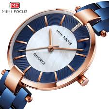 <b>MINIFOCUS</b> Blue Rose Gold Watch Women Watches <b>Casual</b> Ladies ...