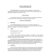 Printable Service Agreement Template For Services Rendered Letter Of ...