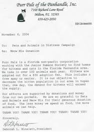 Non Profit Thank You Letter Sample Best Pet And Animal World
