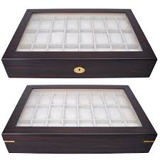 24 wood watch case top glass jewelry display organizer box mens 24 wood watch case top glass jewelry display