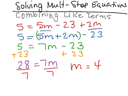 solving multi step equations combining like terms math algebra solving equations high school a rei 3 showme