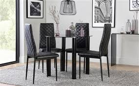 solar round black glass dining table with 4 renzo chairs black dining room furniture sets81 sets