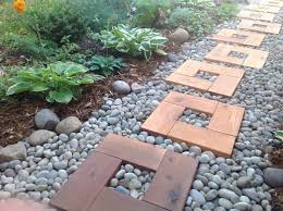 diy pathway from stones and wood