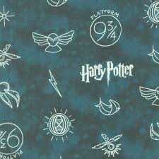 Wizarding World Harry Potter Symbols In Dark Teal Yardage